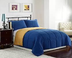 Blue Yellow Comforter Width Of Queen Size Bed 3 Pieces Reversible Goose Down