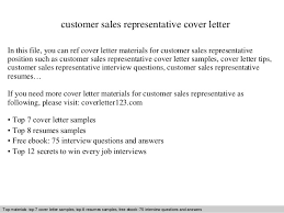 cover letter for a sales position customer sales representative cover letter