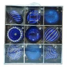 home accents 130 mm ornament set in blue silver 9 count