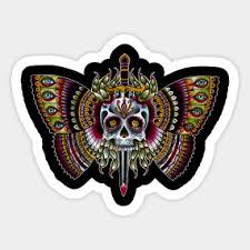 skull butterfly stickers teepublic