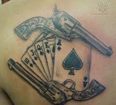 banner and crossed pistol tattoo designs real photo pictures