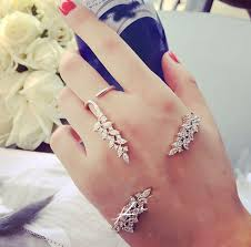 ring cuff bracelet images European jewelry set crystal leaf palm cuff bracelet ring jewelry jpg