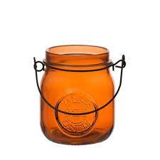 Mason Jar Tea Light Holder Candle Orange Jam Jar Tea Light Holder