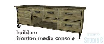 another rustic and industrial media stand with lots of storage