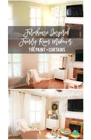 farmhouse inspired family room makeover the paint curtains at