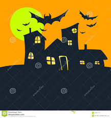 halloween old house orange sky and moon stock photos image 32627773
