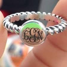 Custom Monogram Rings Monogrammed Gifts Monogram Ringsterling Silver By Mymonogramdesign