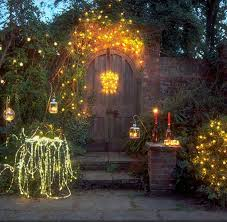 L Outdoor Lighting Wooden Curved Door With Stunning String Lights For Rustic Garden