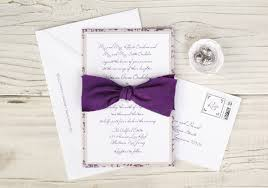 purple wedding invitations wedding invitations with purple ribbon badi deanj