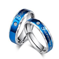 blue promise rings images Classic personalized quot forever love quot couples promise ring blue jpg