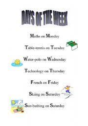 english worksheets days of the week nursery rhyme