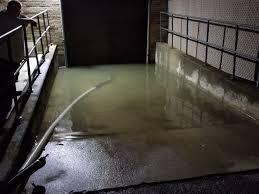basement parking lot at lewis cass jr u0026 sr high flooded