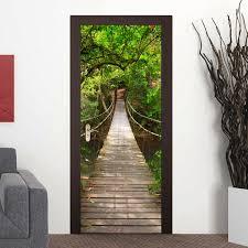 200x77cm 3d wood bridge pvc self adhesive door wall sticker living 200x77cm 3d wood bridge pvc self adhesive door wall sticker living room mural forest bridge decor