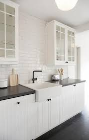 White Beadboard Kitchen Cabinets White Beadboard Kitchen Cabinets With Beveled Subway Backsplash