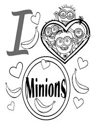 coloriage dessin minions en forme coeur dessin imprimer