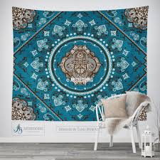 Vintage Home Interior Products by Bohemian Tapestry Teal Hamsa Hand Vintage Mandala Wall Hanging