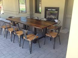 reclaimed wood table with metal legs interior design rare wood dining table metal legs pics photos