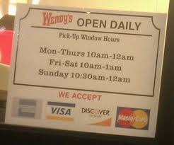 hours of this wendy s drive thru yelp