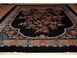 Rug 12 X 14 Antique Chinese Art Deco Black Background Peking Rug