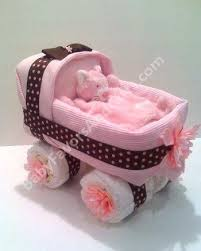 Brooklyn Baby Shower - picture diaper cakes baby carriage pink and brown provided by