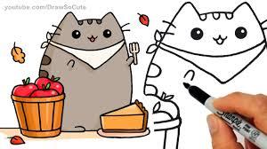 fun2draw thanksgiving drawn pies cute cartoon pencil and in color drawn pies cute cartoon