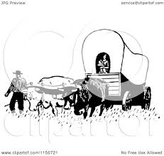 clipart of a black and white retro pioneer covered wagon royalty