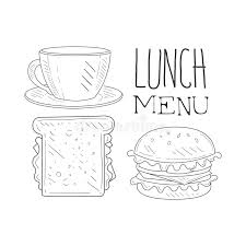cafe lunch menu promo sign in sketch style with sandwich burger