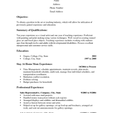 stay at home mom resume sample easy samples cover letter