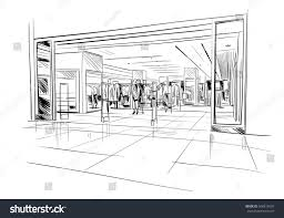 fashion store hand drawn sketch interior stock vector 506817634