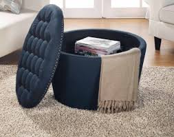 round tufted storage ottoman seat with nailheads navy container