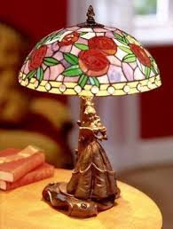 glassmasters belle stained glass lamp disney collectible