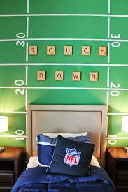 boys football themed bedroom football field wall treatment just rush the field wall mural simple wall decor ideas