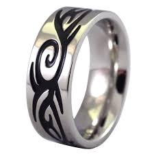 stainless steel mens rings engraved tribal ring silver tone stainless steel band