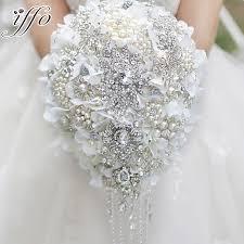 white hydrangea bouquet white hydrangea drop brooch bouquet silver wedding bridal bouquets