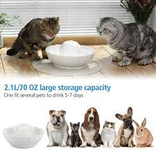 2 1l pet dog cat automatic ceramic lotus ball water fountain bowl