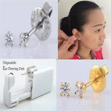 sterilized ear piercing studs 2pcs sterile disposable ear piercing unit gun piercer tool machine