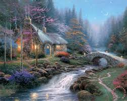 kinkade twilight cottage painting twilight cottage print