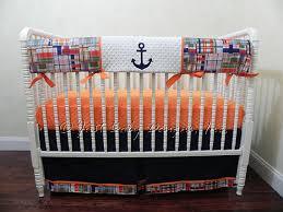 Orange Crib Bedding Nautical Baby Bedding Set Damian Baby Boy Bedding Anchor