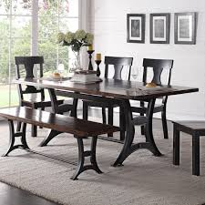 industrial dining room table crown mark astor industrial dining table with trestle base and