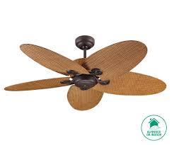 fijian ii 132cm fan in bronze with coffee coloured rattan blades