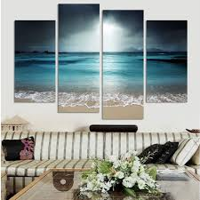 4 panel modern wall painting blue sea art home decor no frame hd
