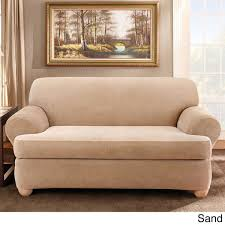 Couch With Slipcover Sure Fit Stretch Stripe 2 Piece T Cushion Sofa Slipcover Free
