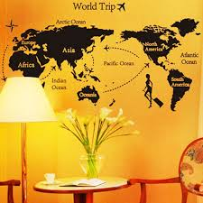 Simple World Map World Map Trip Black Simple Diy Wall Wallpaper Stickers Art Sales