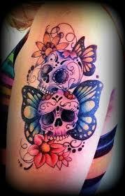 sugar skull butterfly tattoos skull