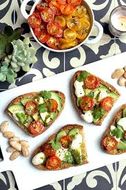 honey roasted tomato and avocado bruschetta two of a kind