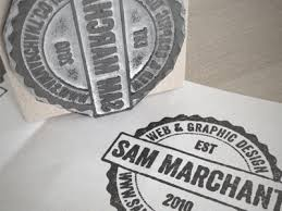 Print On Business Cards Rubber Stamp Logo By Sam Marchant Dribbble