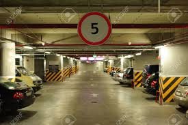 underground parking in the basement of a mall stock photo picture