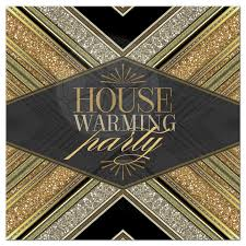 Housewarming by Art Deco Gold Glitter House Warming Party Invitation
