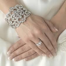 bridal bracelet with ring images Modern vintage silver crystal cuff bridal bracelet jpg