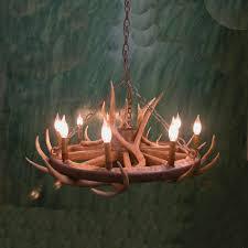 wagon wheel u0026 mule deer antler chandelier
